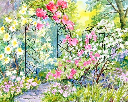 "Rose Garden 14"" x 21"" Watercolor"
