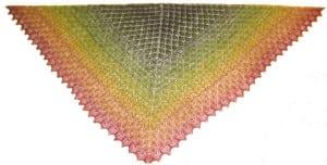 """Layer Colors"" handspun/hand-knitted triangular shawl, by Ruth Blau"