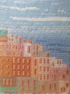 Windows by the Sea, knit wall art, by Debra M Lee