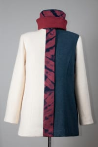 Fulled wool with shibori accents on coat and hat, by Janet Barnard